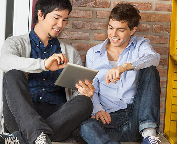 two guys doing online search